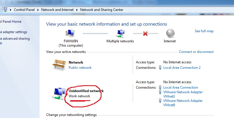 change unidentified network from public to work in windows 7